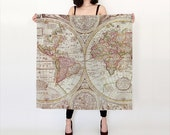 Map Print Scarf , Silk Pastel tones, antique map women' s apparel scarf, cartography, ancient, beautiful