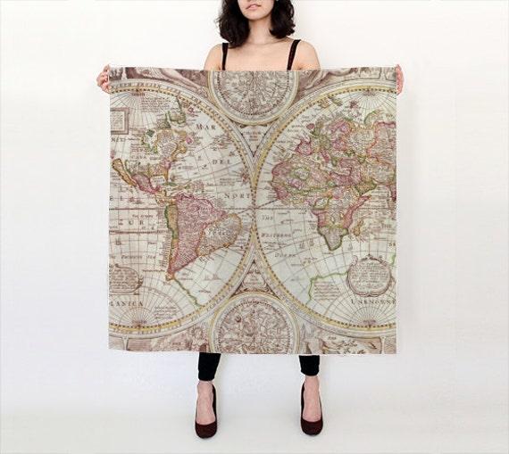 Map Print Scarf , Silk Pastel tones, antique map women' s apparel scarf, cartography, ancient, beautiful