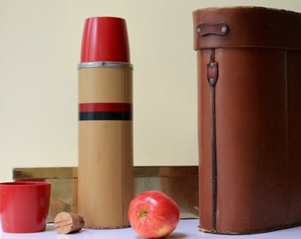 1960s Thermos with Leather Carrying Case