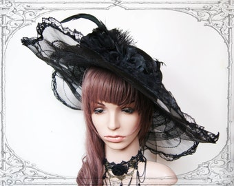 Edwardian lace hat ( Goth , Gothic, Victorian, Vintage Style )
