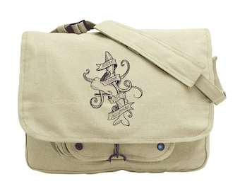 Battle of the Sea Embroidered Canvas Messenger Bag