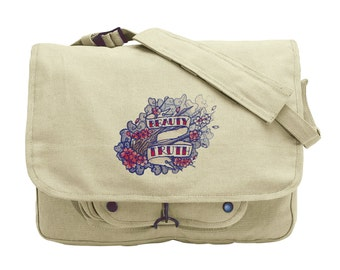 The Seven Seas - Beauty and Truth Tattoo Embroidered Canvas Messenger Bag
