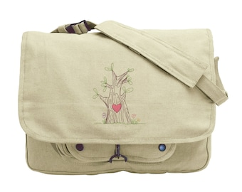 Heartwood Embroidered Canvas Messenger Bag