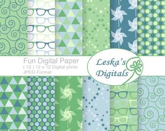 Spring Digital Paper, Geometric Designs Scrapbook Paper Pack, pinwheel, sunglasses, triangle,Commercial Use, 12 x 12 spring scrapbook paper