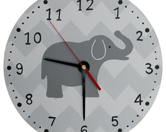 Chevron Elephant Clock - Wooden Grey Elephant Nursery Clock