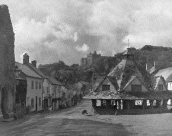 Yarn Market Dunster Somrset Print Black and white from photograph Vintage ephemera Park England