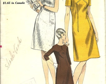 Vogue pattern 6839  MIsses A-Line Dress with short or three-quarter Sleeeves   size 12