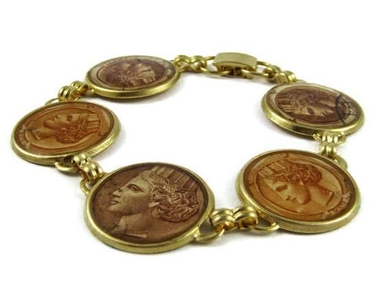 Gold Stamp Bracelet , Upcycled, One of a kind, Bride bracelet,  Bridesmaids Gift , Friendship Bracelet, mother's day gift, Crown Bracelet