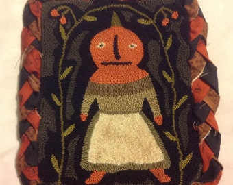 FINISHED! Primitive Punch Needle. Pattern, Ye Ladye Pumpkin. By Notforgotten Farm, Lori Brechlin