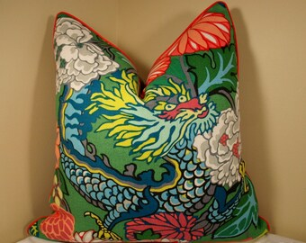 One or Both Sides - Schumacher Chiang Mai Jade Pillow Cover with Self Cording