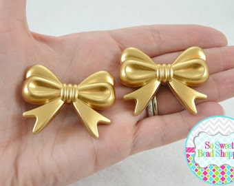 46mm Acrylic Bow Beads, 2ct, Gold