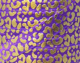 Purple and Gold Metallic Animal Print Fold Over Elastic - Elastic for Baby Headbands and Hair Ties - 5 Yards 5/8 inch Printed FOE
