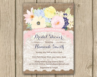bridal shower invitation, yellow pink bridal shower invite, printable floral shower invite, yellow pink flowers,  girl baby shower invite