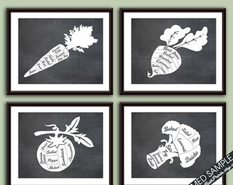 Carrot,Turnip,Tomato and Broccoli (Vegetable Butcher Diagram) 4 Art Prints (Featured Vintage Chalkboard Series B) Kitchen Vegan Vegetarian