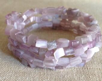 Lavender Cat's Eye Gemstone Beaded Chips Memory Wire Bracelet