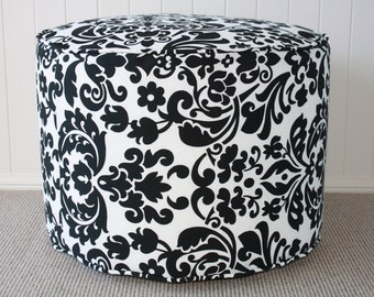 FREE DELIVERY Outdoor Handmade Black & White  Large Floor Cushion/ Pouf/ Ottoman Cover