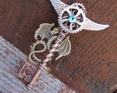 Steampunk, Birthstone, Steampunk Necklace, Key, Jewelry, Cogs, Dragon Key, Steampunk Jewelry, Victorian, Womens Necklace,Gift Idea