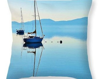 Lake Tahoe Blue Decor Pillow, Sailboat Reflection on the Serene Lake Waters -Photography Art Print Throw Pillow 14 x 14