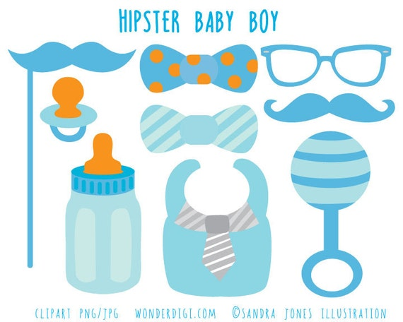 Awesome Items Similar To Hipster Baby Shower Clip Art   Boy Baby Shower Clipart    Baby Icons   Boy Clip Art On Etsy