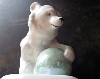 Collectible Bear Figurine,Russian Porcelain Figurine,Porcelain Polar Bear Figurine,Bear Porcelain Figurine,Porcelain Bear Collectible