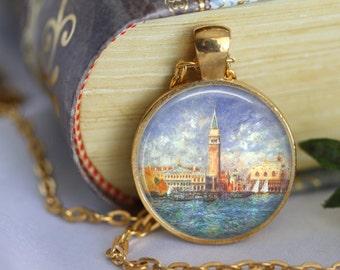 Venice Necklace the Doges Palace Glass Pendant Necklace - RENOIR - Jewerly Renoir Famous Painting Art Necklace Handmade Pendant (202)