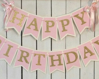 Pink and gold birthday banner pink and gold birthday party ballerina birthday party princess party pink gold 1st birthday sweet 16 banner