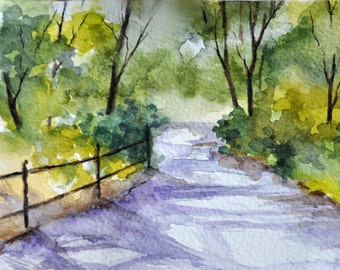ORIGINAL Watercolor Painting, Spring Landscape 4x6 inch