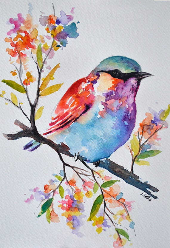 Original watercolor bird painting pastel colored rainbow for Watercolor flower images