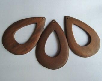 8 Pcs 72x48mm brown drop  Wood bead  (W914)