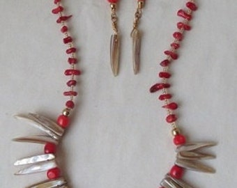 Pearl Shell Sticks with Red Coral Earrings and Necklace Set