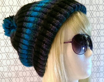 Beanie - blue green with Pompom - wool