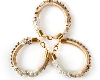 Rope Bracelet, Beaded Statement Bracelet, Thread Wrapped Bracelet, Arm Candy Set, Arm Party Bracelet, Fiber Bracelet, Gold White Bracelet