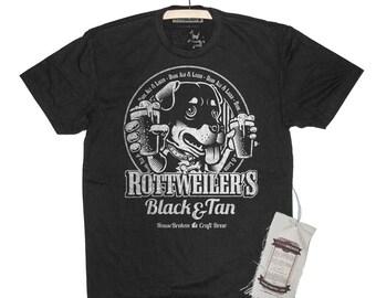 Rottweiler Mens Shirt. Craft Beer Men's Dog T-Shirt.
