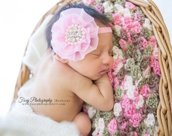 Pink Headband- Pink rhinestone headband, newborn headband, photo prop