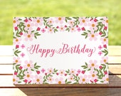 Happy Birthday Card - Roses and Flowers Watercolor Painting- A6 Size - Greeting Card