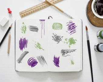 Watercolor Brush Set - Add Watercolor Elements to own Designs - DIY Photography Logo - Templates - Messy Brush - Paint Splatter - 15 Brushes