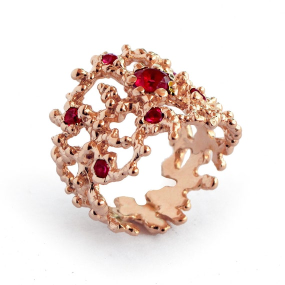 Ruby Diamond Rings: CORAL Rose Gold Ring, Rose Gold Ruby