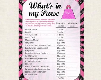 ... wedding game what s in my purse diy instant download pdf file fun ice