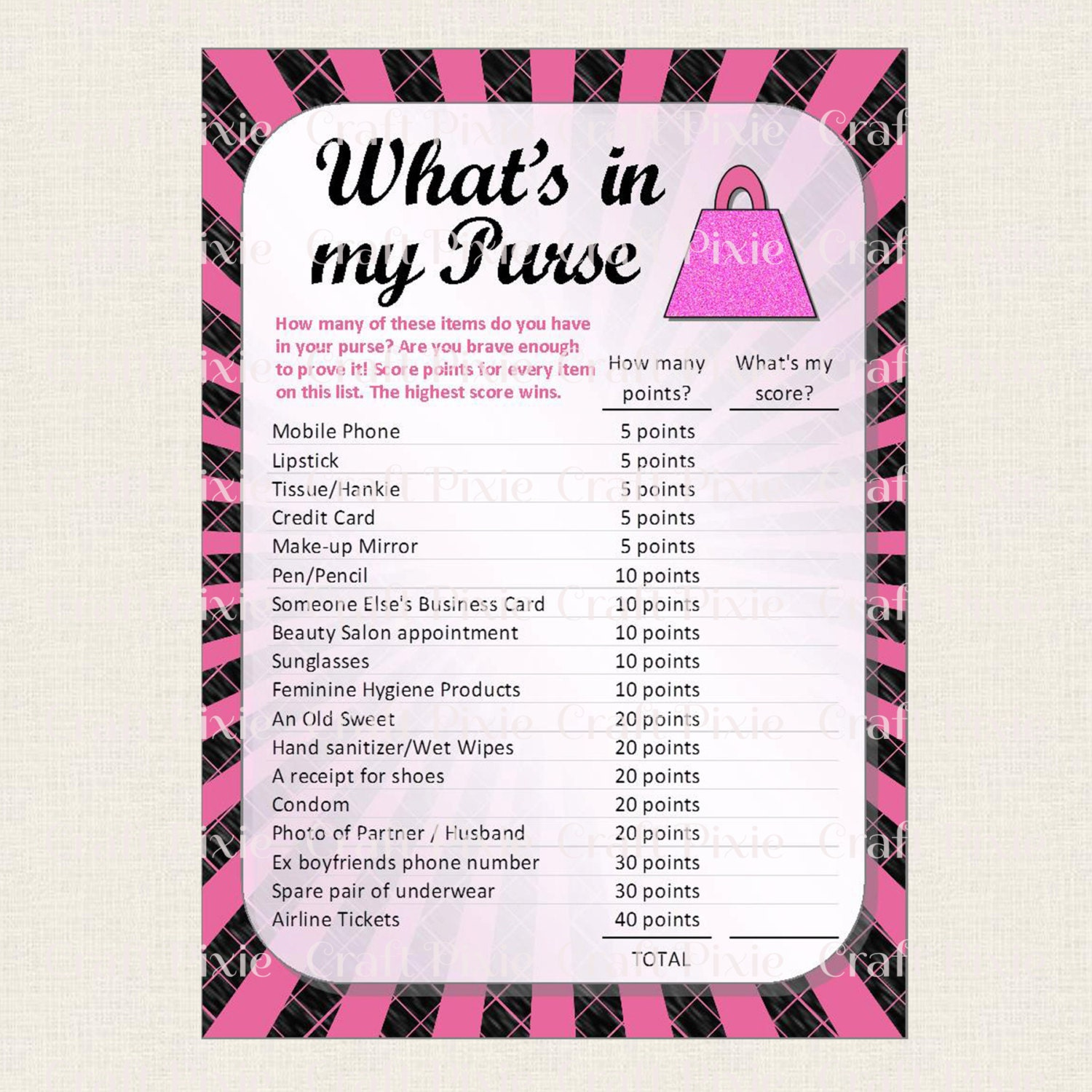 Printable Hen Party Bridal Shower Bachelorette Wedding Game