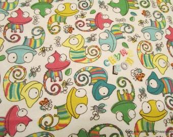 Flannel Fabric - Chameleons - 1 yard - 100% Cotton Flannel