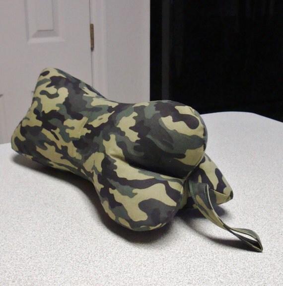 Woodland Camo Camouflage Dog Bone Shaped Contoured Neck Pillow