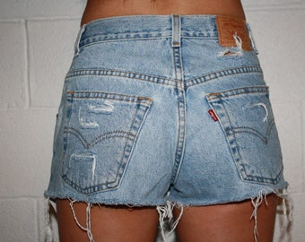 Light Wash Distressed High Waisted Shorts