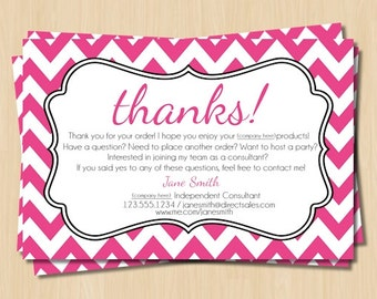 Direct Sales Thank You Card   Pink and White Chevron   Personalized Customer Thank You Card   Direct Sales Party Marketing Tools