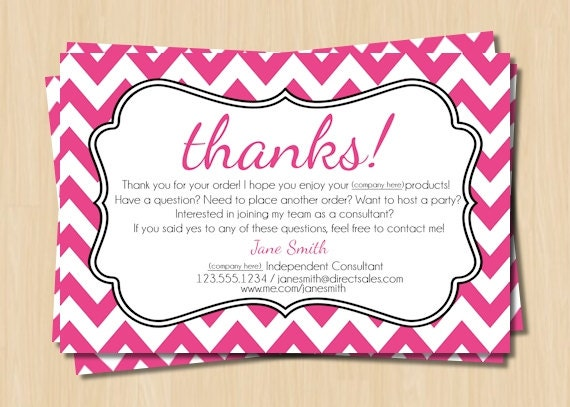 Direct Sales Thank You Card Pink and White Chevron
