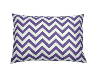 Pillowcase linen look CHEVRON 40 x 60 cm purple white