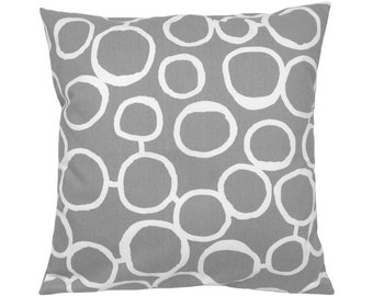 Pillowcase FREEHAND grey white 40 x 40 cm circles graphic