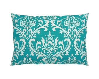 Pillowcase OZBORNE turquoise white Baroque ornament 40 x 60 cm