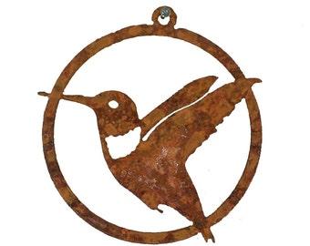 CO104 Hummingbird Ornament - Rusty Bird Metal Silhouette (3.25-Inch Christmas Ornament)