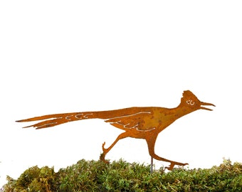 S901 Roadrunner Stake Steel Silhouette with Rusty Patina