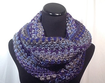 Infinity Crochet Scarf - Shades of Blue